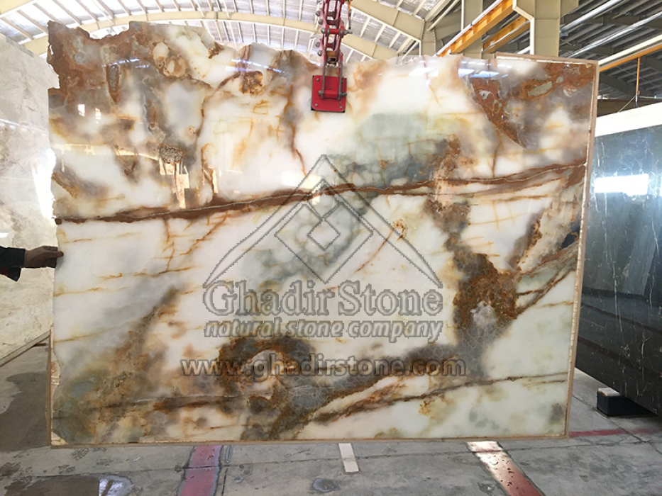 White onyx with brown line