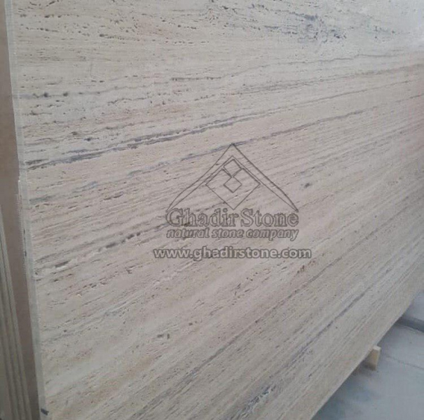 White Travertine with Black Line